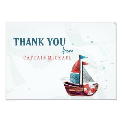 Watercolor Boat Thank You Invitations