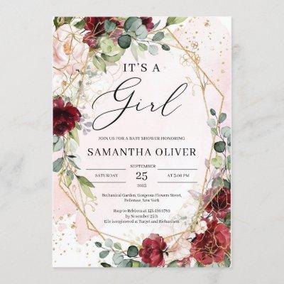 Watercolor boho burgundy floral gold it's a girl invitation