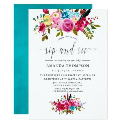 Watercolor Boho Chic Floral Sip and See Invitation