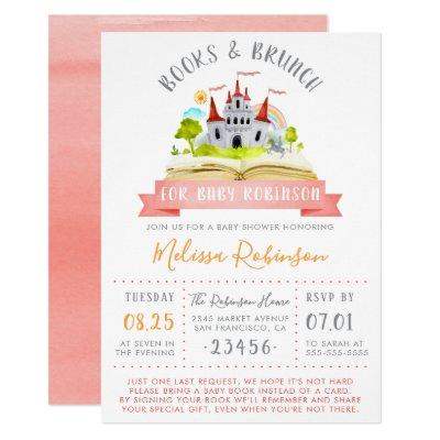 Watercolor Books & Brunch | Red Unisex Baby Shower Invitations