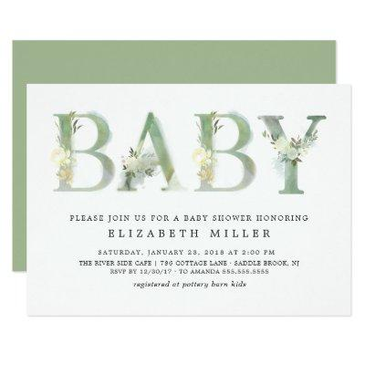 Watercolor Botanical Baby · Baby Shower Invitation
