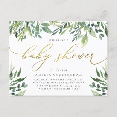 Watercolor Botanical Gold Calligraphy Baby Shower Invitation Postcard