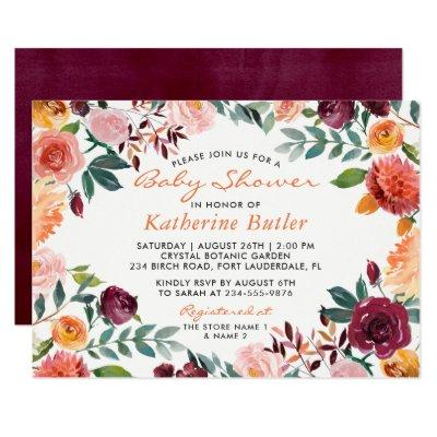 Watercolor Burgundy Orange Pink Floral Baby Shower Invitation