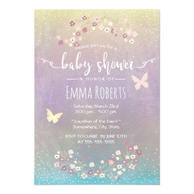 Watercolor Butterfly Spring Floral Baby Shower Invitation
