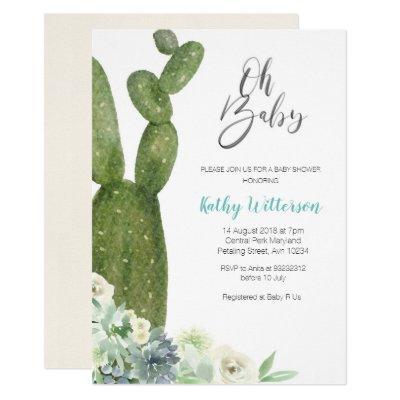 Watercolor Cactus Gender Neutral Baby Shower Invitation