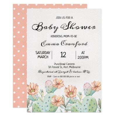Watercolor Cactus Neutral Baby Shower Invitations