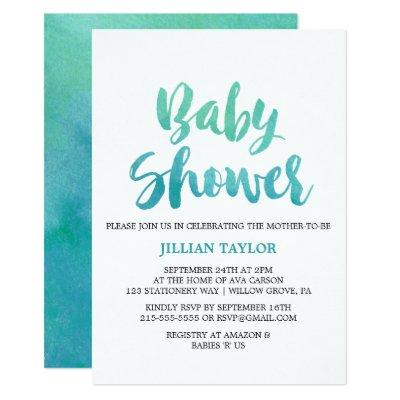 Watercolor Calligraphy Baby Shower Invitations
