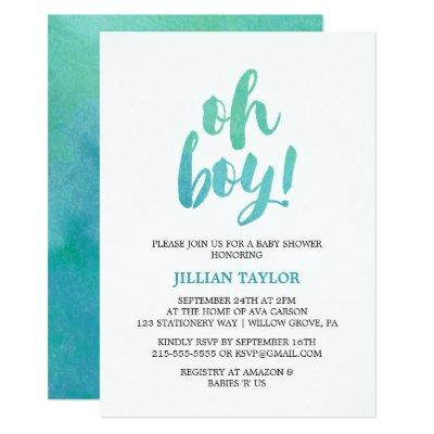 Watercolor Calligraphy Oh Boy Baby Shower Invitations