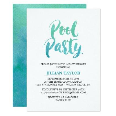 Watercolor Calligraphy Pool Party Invitation