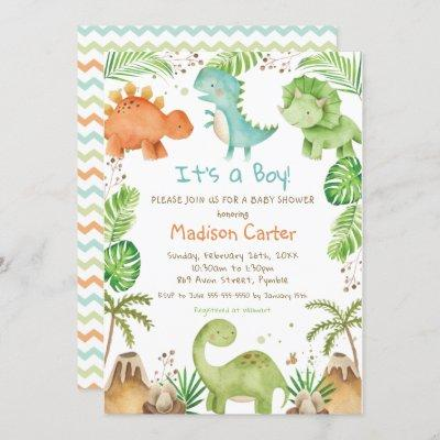 Watercolor Cute Dinosaur Greenery Boy Baby Shower Invitation