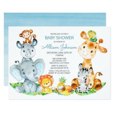 Watercolor Cute Safari Jungle Boy Baby Shower Invitation
