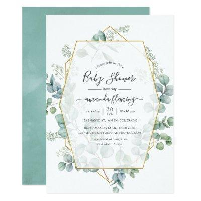 Watercolor Eucalyptus Geometric Baby Shower Invitation