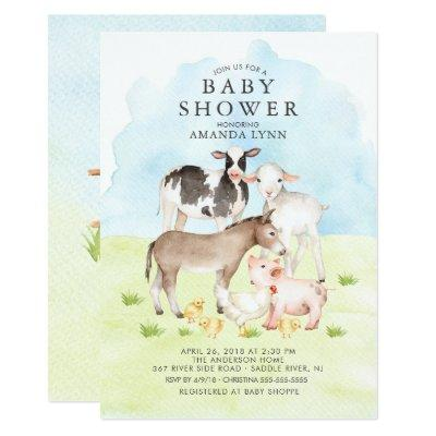 Watercolor Farm Animals Baby Shower Invitations