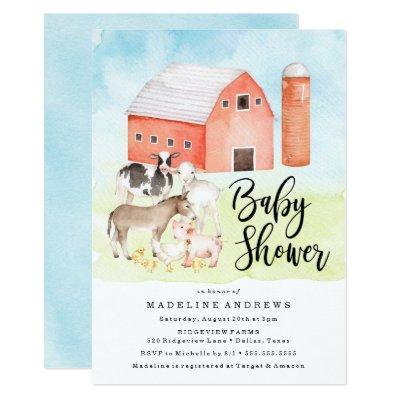 Watercolor Farm Animals | Baby Shower Invitations