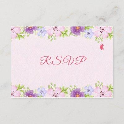 Watercolor Floral Baby Shower RSVP Card