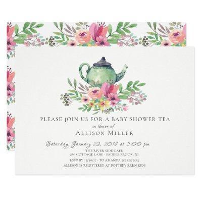 Watercolor Floral Baby Tea Party Invitations