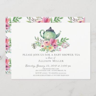 Watercolor Floral Baby Tea Party Invitation