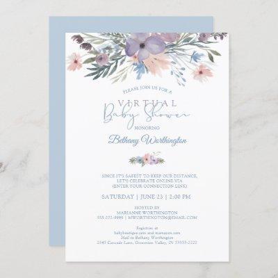 Watercolor Floral Blue Violet Virtual Baby Shower Invitation
