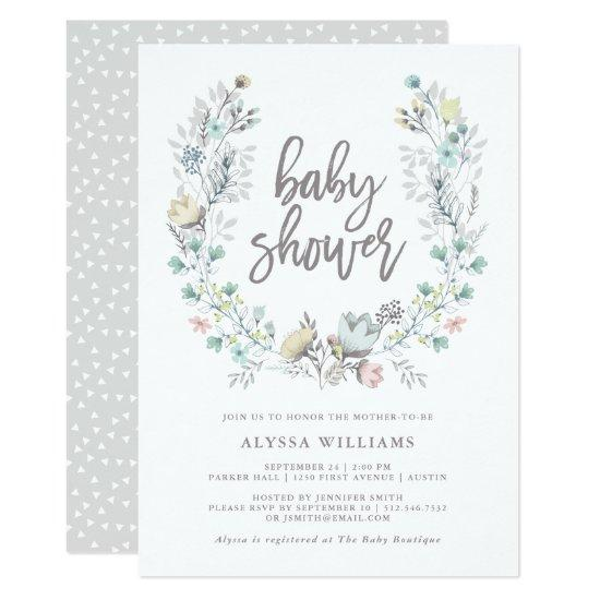 Watercolor Floral Botanical Wreath | Baby Shower Card