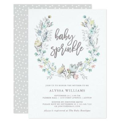 Watercolor Floral Botanical Wreath | Baby Sprinkle Invitation