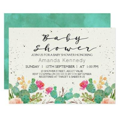 Watercolor Floral Cactus Baby Shower Invitations