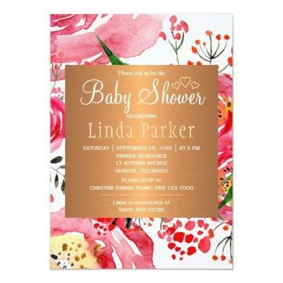 Watercolor floral chic monogram baby shower Invitations