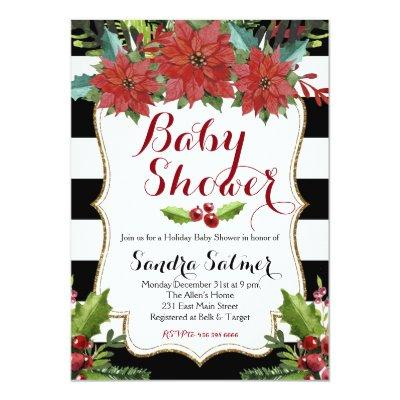 Watercolor Floral Christmas Invitations