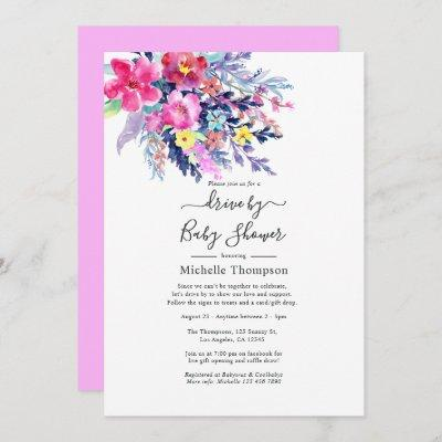 Watercolor Floral Drive By Bridal or Baby Shower Invitation