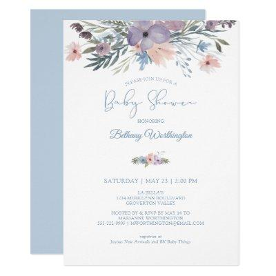 Watercolor Floral Dusty Blue Violet Baby Shower Invitation