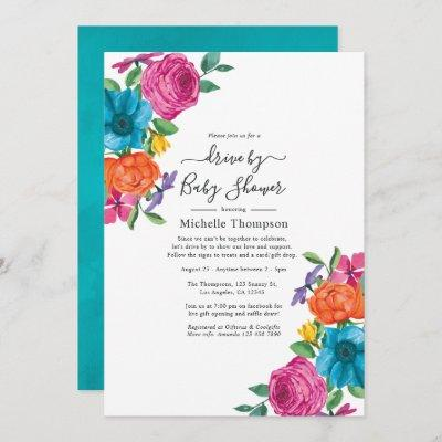 Watercolor Floral Fiesta Drive By Shower Invitation