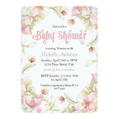 Watercolor Floral Frame Pastel Baby Shower Invitation