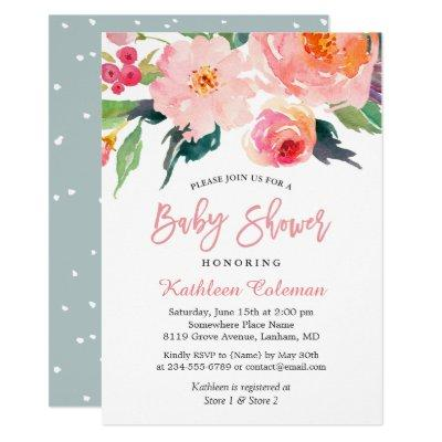 Watercolor Floral Modern Classy Baby Shower Invitation