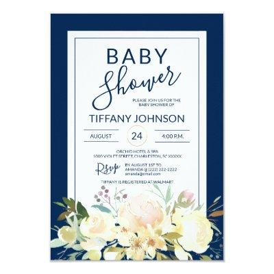 Watercolor Floral Pink Beige Navy Blue Baby Shower Invitation