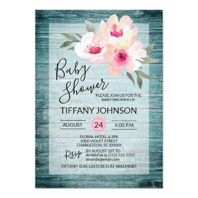 Watercolor Floral Pink Blue Rustic Baby Shower Invitation