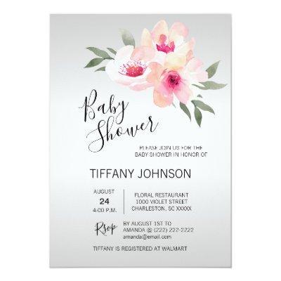 Watercolor Floral Pink Grey Flowers