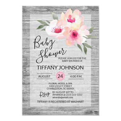 Watercolor Floral Pink Grey Rustic