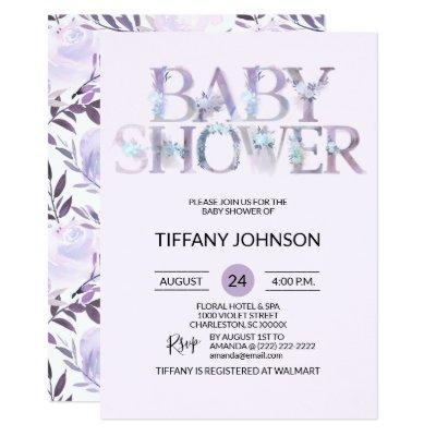 Watercolor Floral Purple Lavender Baby Shower Invitation