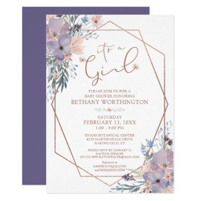Watercolor Floral Purple Violet Baby Shower Invitation