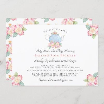 Watercolor Floral Tea Party | Baby Shower Invitation