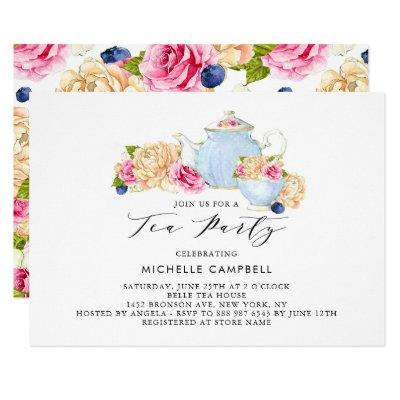 Watercolor Floral Tea Party Invitations