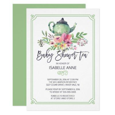 Watercolor Floral Tea Party Neutral Baby Shower Invitation