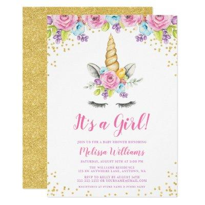Watercolor Floral Unicorn Baby Shower Invitations