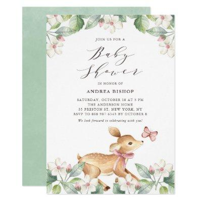 Watercolor Floral Woodland Baby Deer Baby Shower Invitations