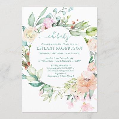 Watercolor Floral Wreath Oh Baby Pastel Shower Invitation