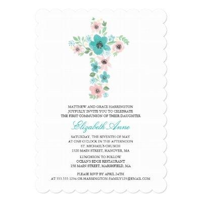 Watercolor Flower Cross First Holy Communion Invitations