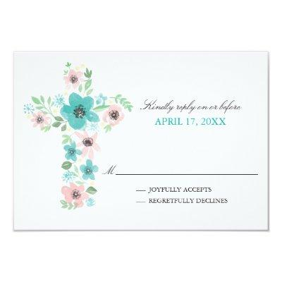Pretty reply cards baby shower invitations baby shower invitations watercolor flower cross first holy communion invitations filmwisefo