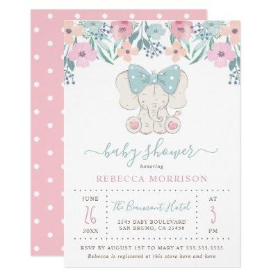 Watercolor elephant baby shower baby shower invitations baby watercolor flowers baby girl elephant filmwisefo