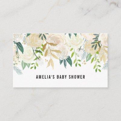 Watercolor Flowers Gold Foil Baby Shower Registry Enclosure Invitations