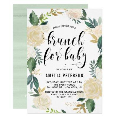 Watercolor Flowers with Glitter Baby Shower Brunch Invitation