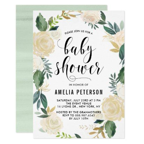 Watercolor Flowers with Gold Glitter Baby Showers Invitations